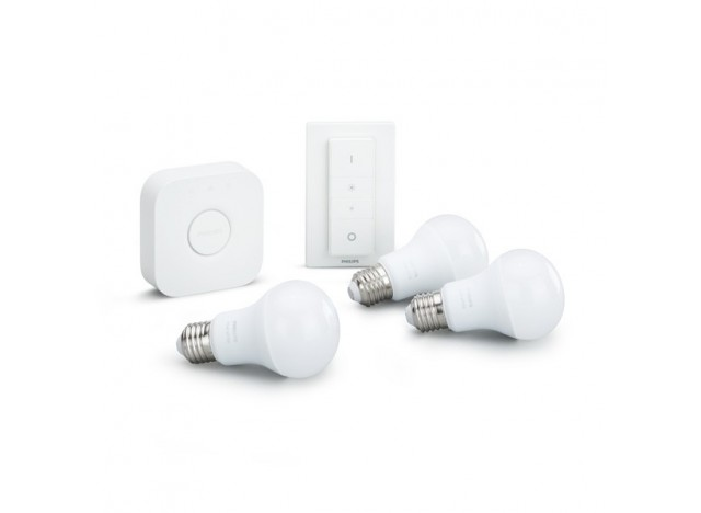 Philips Hue White Starter Kit con Bridge, Dimmer Switch e Lampadine E27 9 w