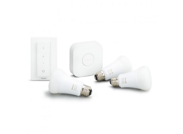 Philips Hue White Ambiance Starter Kit con Bridge, Dimmer e Lampadine E27 9,5 w