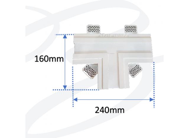 profilo in gesso ad incasso a soffitto largo accessorio a forma di T