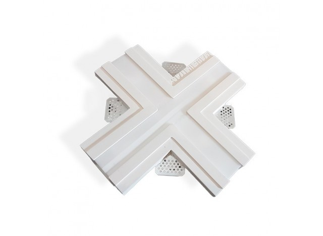 profilo in gesso ad incasso a soffitto largo accessorio a forma di X croce
