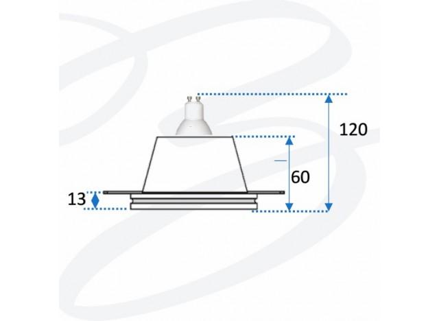 faretto in gesso ad incasso modello rettangolare doppio unito