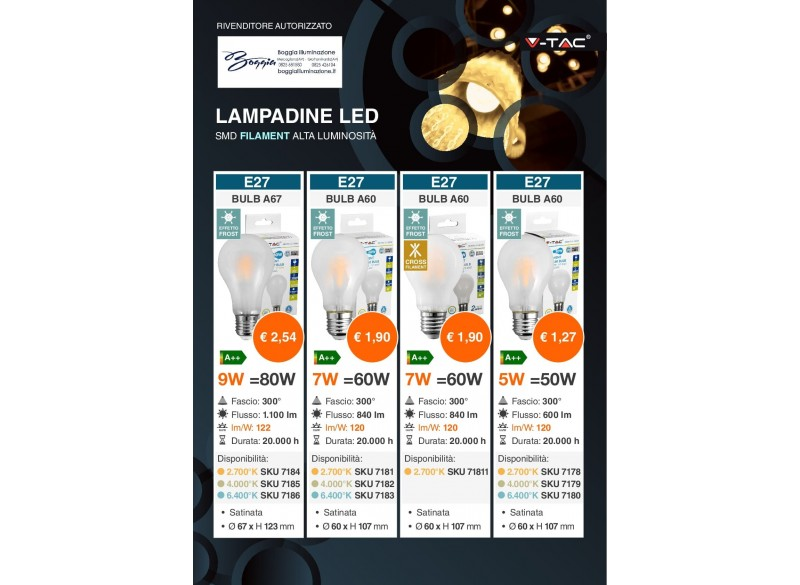 lampadine led smd filament alta luminosità
