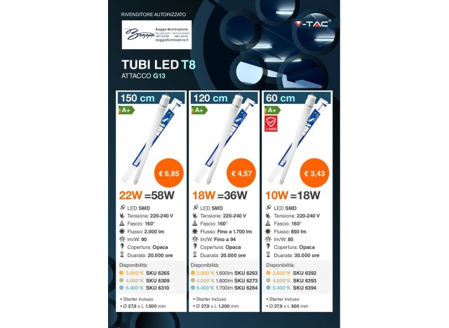 tubi led t8 attacco g13