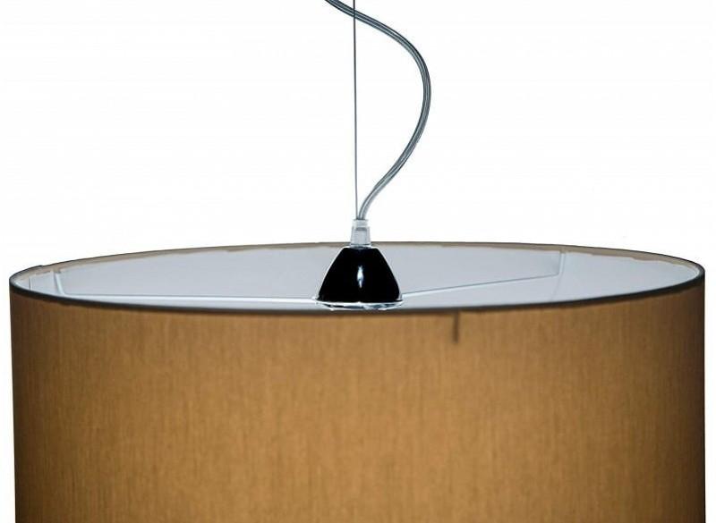 lampada a sospensione cilindro in tessuto colore sabbia