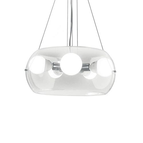 illuminazione ambienti ha una montatura in metallo cromato. Il diffusore è in vetro soffiato trasparente. I cavi sono in acciaio di lunghezza regolabile con dispositivi ferma cavo automatici Misure e caratteristiche tecniche