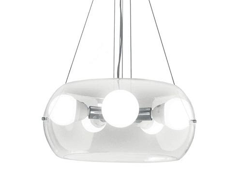 lampadari camera ideal lux ha una montatura in metallo cromato. Il diffusore è in vetro soffiato trasparente. I cavi sono in acciaio di lunghezza regolabile con dispositivi ferma cavo automatici Misure e caratteristiche tecniche