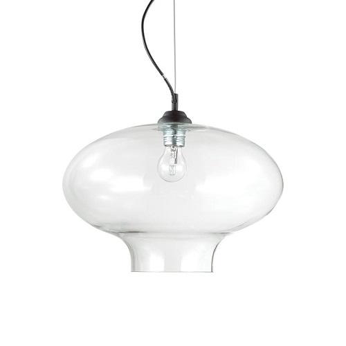lampadari cucine design ideal lux  Montatura in metallo verniciato nero. Diffusore in vetro trasparente soffiato e modellato artigianalmente
