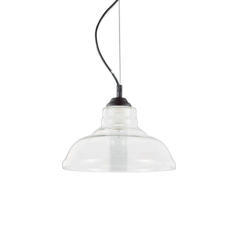 lampadari per cucine ideal lux  Montatura in metallo verniciato nero. Diffusore in vetro trasparente soffiato e modellato artigianalmente.