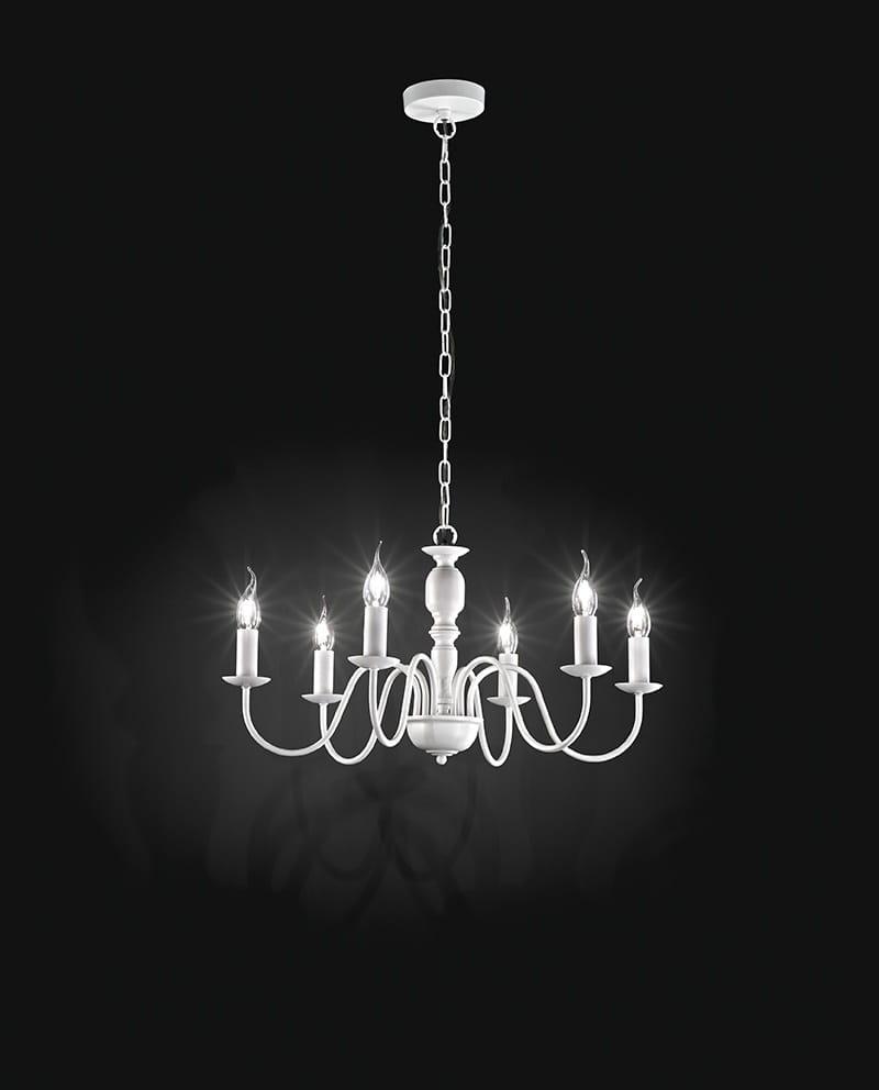lampadari salotto Colore Bianco 6 luci attacco lampadina E14 elegante e nostalgico