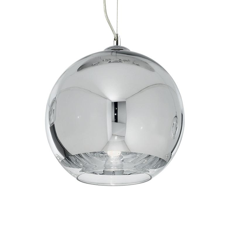 lampadario sfera Ideal Lux prezzo Montatura in cromo. Diffusore in vetro soffiato e cromato con banda inferiore trasparente.