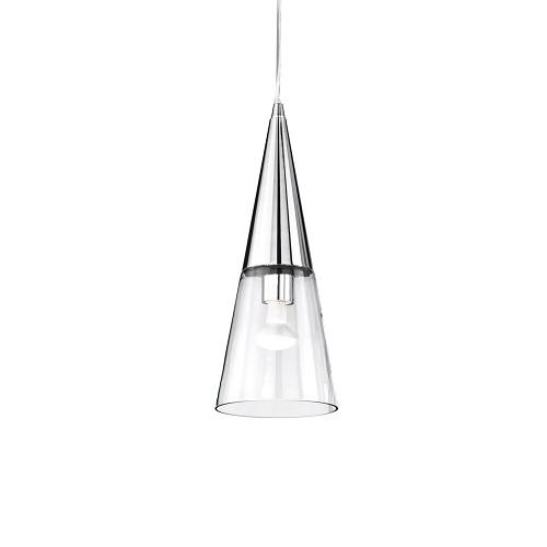 lampadario sospeso cucina ideal lux Diffusore in vetro soffiato a mano. Disponibile in bianco con vetro trasparente e fascia sabbiata, o in cromo con vetro tutto trasparente.