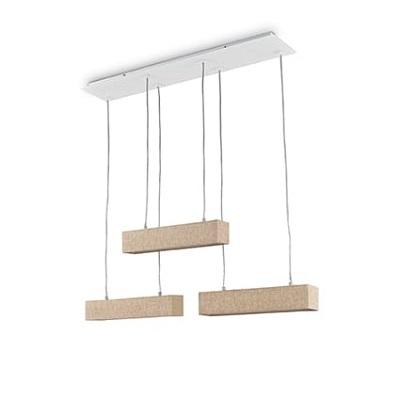 lampadario tavolo soggiorno struttura Metallica laccata bianca che fa da base per l'ancoraggio a soffitto dalla quale pendono 3 sospensioni in tessuto effetto tela nel colore Canvas la tonalità è un marroncino chiaro sabbia. I cavi sono trasparenti.